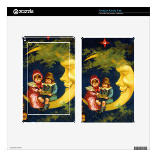 Vintage French Children sitting on moon cute Kindle Fire Decal