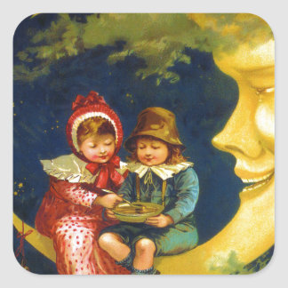 Vintage French Children sitting on moon cute Square Sticker