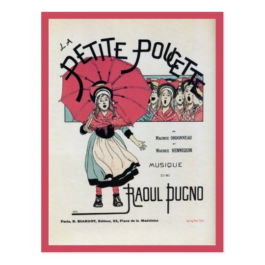 Vintage French children's musical poster Postcard