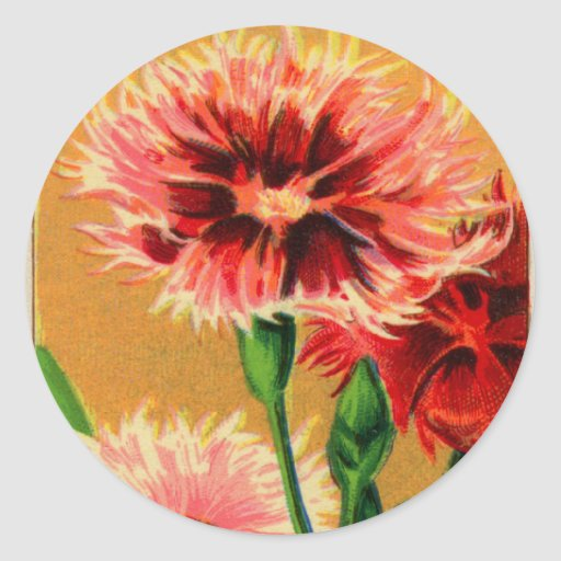 Vintage French China Carnation Flower Seed Package Stickers