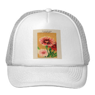 Vintage French China Carnation Flower Seed Package Trucker Hat