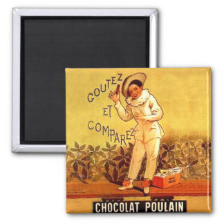 Vintage French Chocolate Clown Party Games 2 Inch Square Magnet