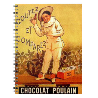 Vintage French Chocolate Clown Party Games Spiral Note Book