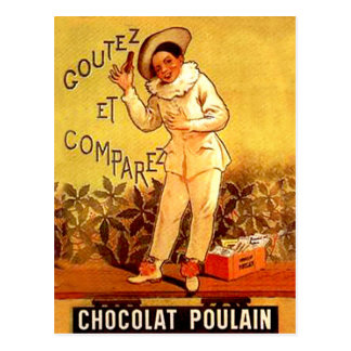 Vintage French Chocolate Clown Party Games Postcard