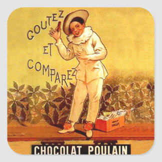 Vintage French Chocolate Clown Party Games Square Sticker