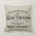 Vintage French Chocolate Linen Throw Pillow at Zazzle