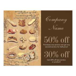 vintage french chocolate pastry cookies bakery flyer