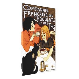VINTAGE FRENCH CHOCOLATE & TEA CO ADVERTISEMENT CANVAS PRINT