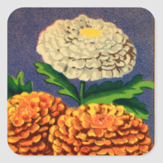 Vintage French Chrysanthemum Flower Seed Package Square Sticker