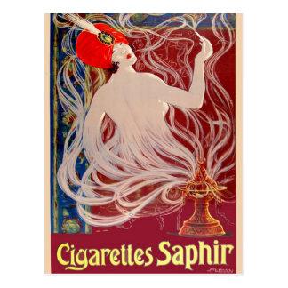 Vintage French Cigarettes Saphir Postcard