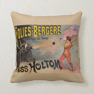 Vintage French Circus Sideshow Poster Throw Pillow