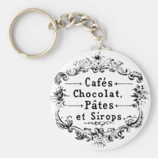 Vintage French Coffee & Chocolate Label Basic Round Button Keychain