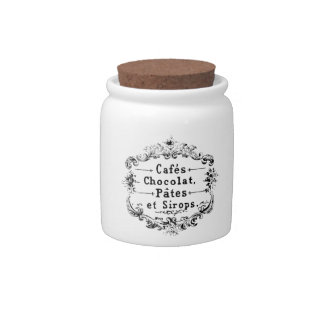 Vintage French Coffee & Chocolate Label Candy Jars
