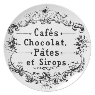 Vintage French Coffee & Chocolate Label Dinner Plate