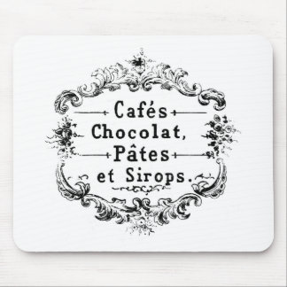 Vintage French Coffee & Chocolate Label Mouse Pad