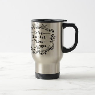 Vintage French Coffee & Chocolate Label Travel Mug