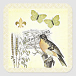 Vintage French Collage Bird Butterfly Fleur Square Sticker