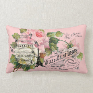 Vintage French Collage Throw Pillow