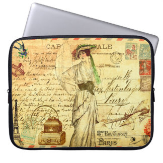 Vintage French collage travel diary postmarked Laptop Sleeve