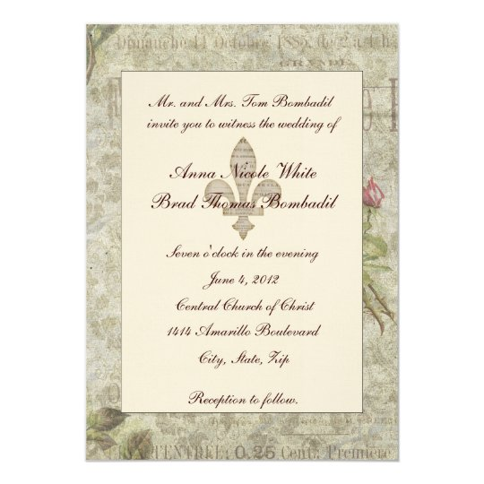 Vintage French Collage Wedding Invitation