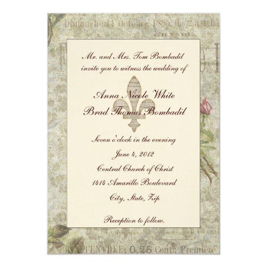 French Vintage Wedding Invitations: Vintage French Collage Wedding Invitation
