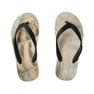 Vintage French Conch Shell Kid's Flip Flops