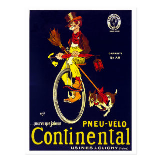Vintage French Continental Bicycle Tire Clown Postcard
