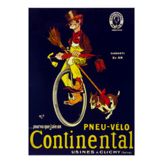 Vintage French Continental Bicycle Tire Clown Poster