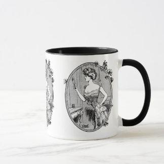 Vintage French corset advertisement, black Mug