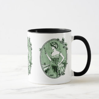 Vintage French corset advertisement, green Mug
