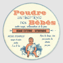 Vintage French Cosmetics Label for Baby Products Classic Round Sticker