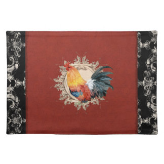 Vintage French Country Damask Rooster Placemat