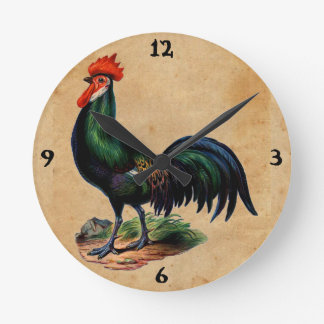 Vintage French Country Green Feathers Rooster Round Clock