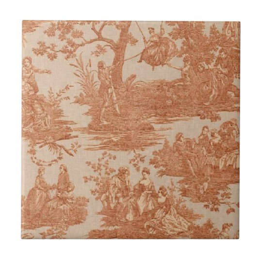 Vintage French Country Red Ceramic Tile