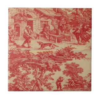 Vintage French Country Red CreamToile Ceramic Tile