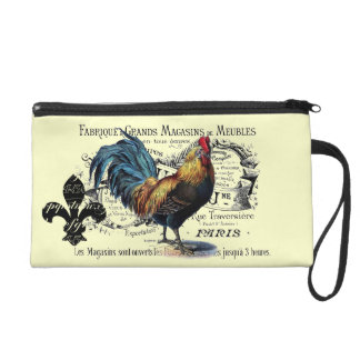 Vintage French Country Rooster Ephemera Collage Wristlet Purse
