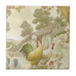 """Vintage French Country Rooster/Hen Ceramic Tile<br><div class=""""desc"""">Vintage French Country rooster & hen Ceramic Tile</div>"""