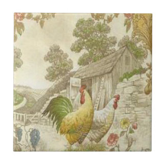 Vintage French Country Rooster/Hen Ceramic Tile