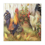"""Vintage French Country Rooster Hen Ceramic Tile<br><div class=""""desc"""">Vintage French Country rooster,  hen and baby chickens Ceramic Tile</div>"""