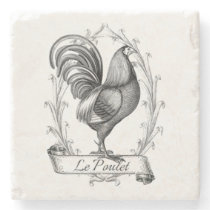 Vintage French Country Rooster Stone Coaster