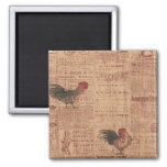 Vintage French Country Roosters Fridge Magnet