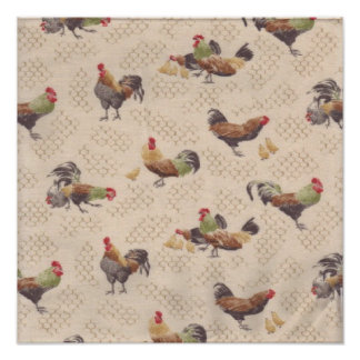 Vintage French Country Roosters Hens Art Print