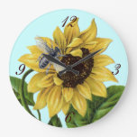 Vintage French Country Sunflower Honey Bee Round Clocks