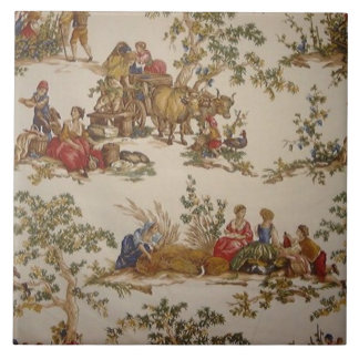 Vintage French Country Toile Print Tile