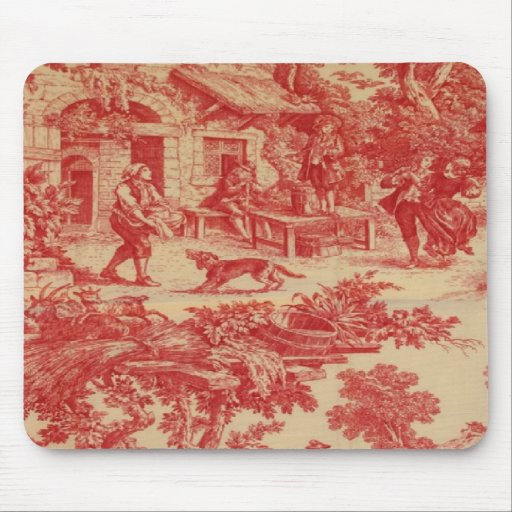 Vintage French Country Toile Red Mousepad