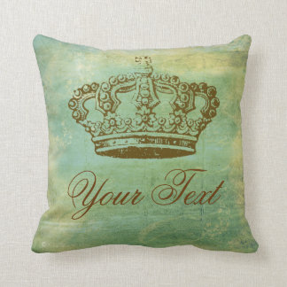 Vintage French Crown Design Square Throw Pillow
