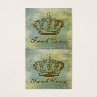 Vintage French Crown Mini Biz Cards or Tags Blue