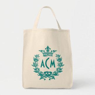 Vintage French Crown Monogram Grocery Tote Bag