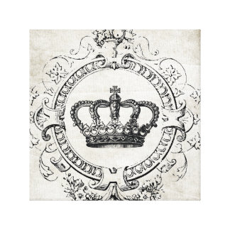 Vintage French Crown stretched canvas Gallery Wrapped Canvas