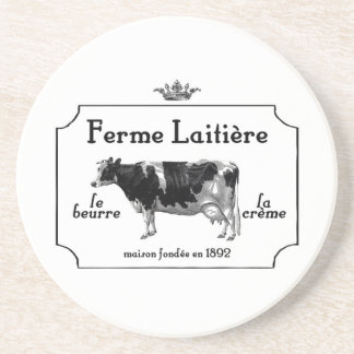 Vintage French Dairy With Vintage Cow Sandstone Coaster